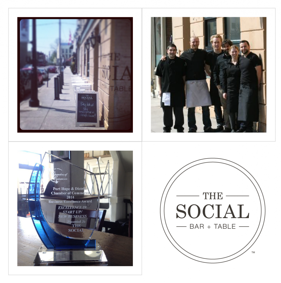 The Social Bar + Table, Port Hope, Ontario - Chamber of Commerce Business Excellence Award and The Social won the award for Excellence as a Start Up/New Business and Happy First Anniversary